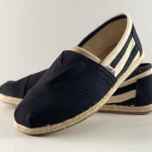 3739961cacc TOMS Classic University Black Stripe Canvas Shoes